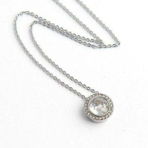New Michael Kors Crystal Halo Pendant Necklace